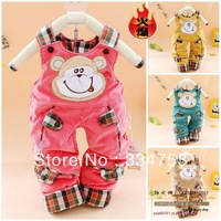 2013 Hot Sales Autumn & Winter Baby Overalls Cotton-padde corduroy overalls with Smiling Monkey Patterns