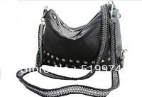 women handbag handmade knitted bag rivet chain bag shoulder black bag