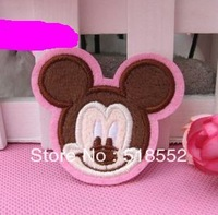 20pcs 5.1*5.8cm Fabric cartoon lovely cute pink MICKEY MOUSE head plush yarn embroidery patch  quality products B209