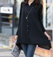 plus size 5XL casual Irregular autumn women's elegant slim long-sleeve chiffon shirt loose long blouse top 2014 new fashion