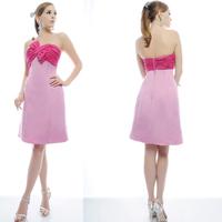 Wedding banquet quality elegant bridesmaid short skirt pinkish purple satin fabric tube top one-piece dress hs03