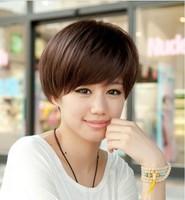 Novelty Girls vintage women's wig stubbiness short straight hair bobo oblique bangs black brown female fake hair