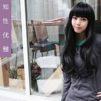 Novelty Long wig scroll wig female wig qi long curly hair wig bangs jiafa