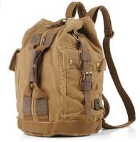 Men men's Vintage Canvas Leather Backpack Rucksack Satchel Military Sport bag ourdoor B107