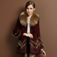 2013 women's rabbit fur coat raccoon fur slim medium-long lj8875