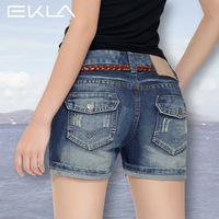 Free shipping Denim shorts female roll up hem shorts thin jeans female plus size pants