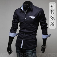 Male spring 2013 male casual long-sleeve shirt solid color cotton long-sleeve shirt slim male