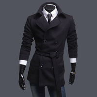 Casual male black double breasted wool coat male woolen overcoat medium-long