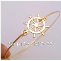 Free Shipping !!! High Fashion Jewelry Gold Filled Bracelets Nautical Ship Steering Wheel Jewelry Gold Wheel Bangle Bracelet