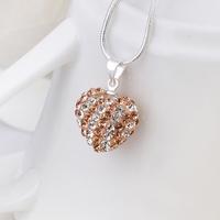 New Arrival!!Wholesale 925 Silver Necklace,Disco Ball Bead,Fashion Crystal Jewelry Shamballa Necklace Heart Pendant SBN093