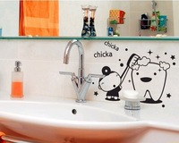 Vinyl Wall Mural Art Bathroom Give teeth bathing Washroom Waterproof stickers for Creative Funny Joke,free shipping