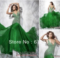 211C58 Hot sale Formal V-neck Open Back Green Fashion Women Long Evening Dresses With Beades And Sequins 2013 Prom Dresses