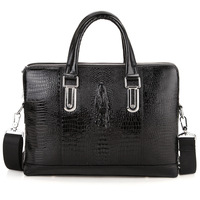 Leather new arrival crocodile pattern man bag fashion personality bag male one shoulder cross-body handbag briefcase