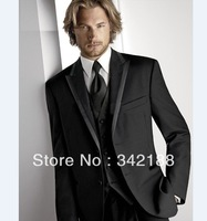 Free shipping/custom made cheap Groomsmen suit/Black Slim Groom Tuxedos Best Man Notch Lapel Men's Wedding groomsmen wear dress
