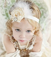 Free Shipping Fashion New Baby Infant Toddler Headband Flower Hair Band Headwear Baby Gift diamante rose feather hair accessory