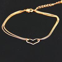 HEB032  2014 14K Rose Gold Plated Titanium Heart Bracelets Fashion Jewelry women pulseiras femininas pulseras mujer