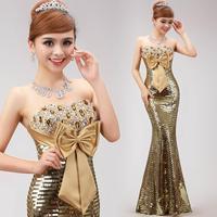 2015 long design paillette evening dress fish tail formal dress gold sequined strapless dress