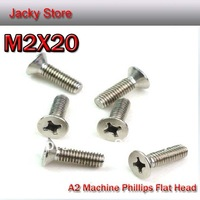 Free Shipping 500pcs/lot DIN965 M2*20 Stainless Steel A2 Machine Phillip Flat Head (Cross Recessed Countersunk head screw) Screw