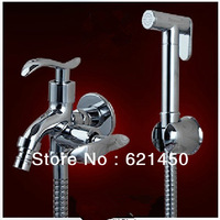 Hot sale!G1/2 Inner Toilet Angle Valve With Women Wash Hand Showers Brass Chrome Finished Water Faucets For Bathroom and Kitchen