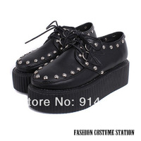 Fashion Harajuku Punk Rivets Lace-Up Creepers Platform Wedges Flats Sapatos Shoes For Women Size 35-39