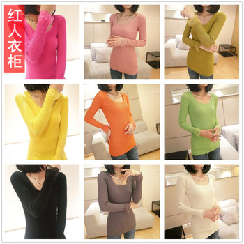Free shipping 2013 autumn and winter low collar elastic laciness shirt slim medium-long basic shirt sweater