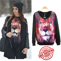 New 2013 Big Size Women's Winter Coats Hot Selling The Tiger Hoodies Long Sleeve Pullover Women's Animal Hoodie Sweatshirt Sale