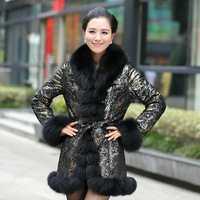 2013 Luxury Genuine Printed Sheepskin Leather Down Parkas Coat with Fox Fur Collar Female Warm Outerwear VK1200