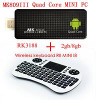 TV BOX MK809 III Rockchip RK3188 Quad Core MK809III TV Stick 2GB RAM 8GB ROM+ Wireless keyboard RII MINI I8