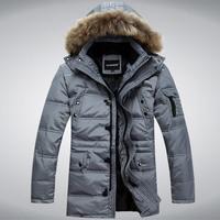 2014 winter Male large fur collar detachable cap medium-long men's  thick down coat , men's military down jacket, men's coat