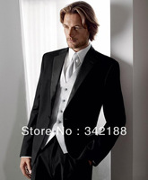 Free shipping!custom made cheap(black jacket pants,silver vest)Wedding Groom wear Tuxedos/Groomsmen dress/ new style men's suits