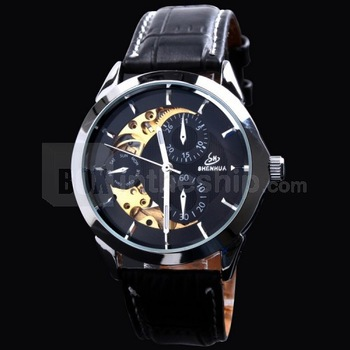 Free HK Post+Box Fashion Male Hours Skeleton Men Automatic Watch SHENHUA Classic Genuine Leather Strap Men's Mechanical Clock