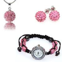 Pink Shamballa jewelry sets with CZ Disco Balls Shamballa Bracelet Watch/Earring/Necklace Jewelry Set,shamballa jewelry set