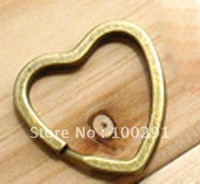 100piece/lot Free shipping!!! 33mm Heart Antique bronze Key Chains&Key Rings&Split Rings Jewelry Findings Accessories