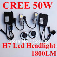 50w h7 car fog led big headlight,new CREE CXA1512 chips ,50W H7 led headlamp,1800LM h7 LED Headlight Free shipping
