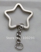 33mm Star Rhodium Plated Key Chains&Key Rings&Split Rings Jewelry Findings Accessories