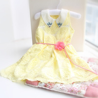 free shippingDS3299 hot sale 2013 summer sunflower lace  girl cute dress girls summer clothig Kids   princess