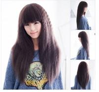 Wig long curly hair fluffy oblique bangs bobo pear female stubbiness
