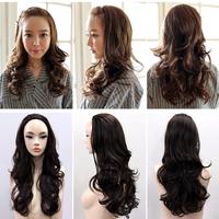 Wig large wig real hair wavy wig with bangs