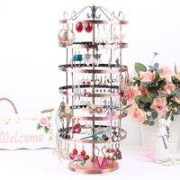 Luxury 6 288 rotating earring rack jewelry holder accessories rack earrings frame display rack storage plaid pavans