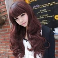 Long curly hair oblique bangs scroll wig girls repair fluffy wig