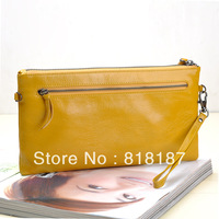 Women genuine leather clutch wrist length cowhide female bag multifunctional women's bags