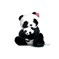 Toy club mother and son giant panda plush doll parent-child toys black flower