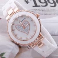 White ceramic watches female fashion   bracelet watch waterproof new love