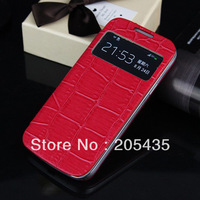Hot Luxury Crocodile Grain Flip Leather Battery Door Housing Case For Samsung Galaxy S4 Mini I9190 Cover Skin+1 Free Screen Flim