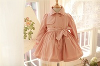 free shipping OW3074  Autumn Children Outwear cotton Girls Trench Coat for 3-8T designer Kids wear