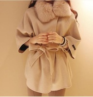 2013 hot !! New fashion women wool coats fur with cap female woolen cloak outerwear fur collar medium-long blended wool coat