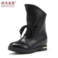 Motorcycle boots elevator lacing martin boots medium-leg cowhide female boots