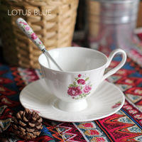 Gift Box Packed !China Rose Chintz 190ML Porcelain Coffe Cup and Saucer With stainless steel spoon