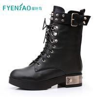 2013 genuine leather martin boots flat heel fashion rivet platform boots