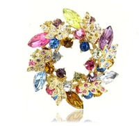 Vintage quality garland suit big brooch female crystal brooch big flower accessories